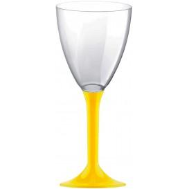Plastic Stemmed Glass Wine Yellow Removable Stem 180ml (40 Units)