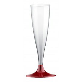 Plastic Stemmed Flute Sparkling Wine Burgundy 140ml 2P (20 Units)
