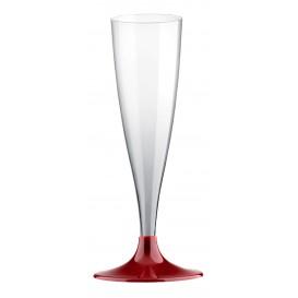 Plastic Stemmed Flute Sparkling Wine Burgundy 140ml 2P (400 Units)