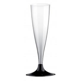 Plastic Stemmed Flute Sparkling Wine Black 140ml 2P (120 Units)