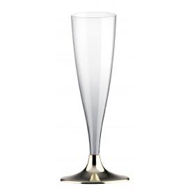 Plastic Stemmed Flute Sparkling Wine Gold Chrome 140ml 2P (20 Units)