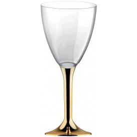 Plastic Stemmed Glass Wine Gold Chrome Removable Stem 180ml (40 Units)