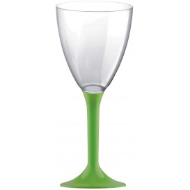 Plastic Stemmed Glass Wine Lime Green Removable Stem 180ml (200 Units)