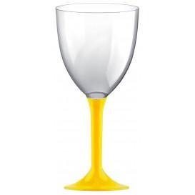 Plastic Stemmed Glass Wine Yellow Removable Stem 300ml (40 Units)