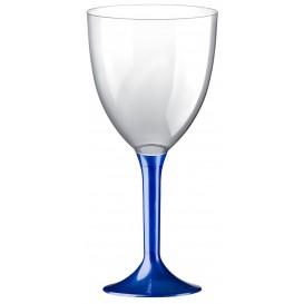 Plastic Stemmed Glass Wine Blue Pearl Removable Stem 300ml (40 Units)
