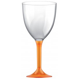 Plastic Stemmed Glass Wine Orange Clear Removable Stem 300ml (200 Units)