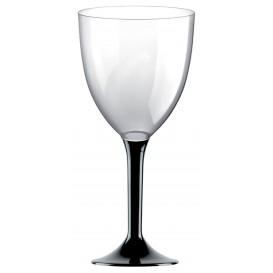Plastic Stemmed Glass Wine Black Removable Stem 300ml (40 Units)