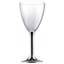 Plastic Stemmed Glass Wine Silver Chrome Removable Stem 180ml (40 Units)