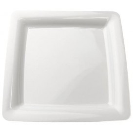 Plastic Plate Square shape Extra Rigid White 18x18cm (20 Units)