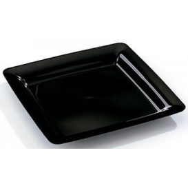 Plastic Plate Square shape Extra Rigid Black 18x18cm (20 Units)