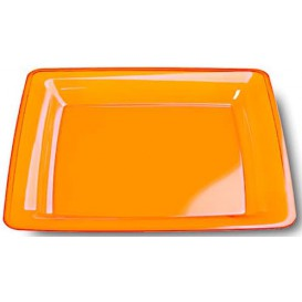 Plastic Plate Square shape Extra Rigid Orange 22,5x22,5cm (6 Units)