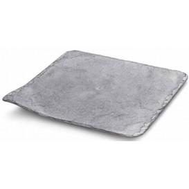 Plastic Tasting Plate Synthetic Slate PS 20x20cm (100 Units)