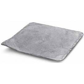Plastic Tasting Plate Synthetic Slate PS 24x24cm (10 Units)