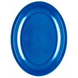"Plastic Platter Oval Shape Mediterranean Blue ""Round"" PP 25,5 cm (50 Units)"
