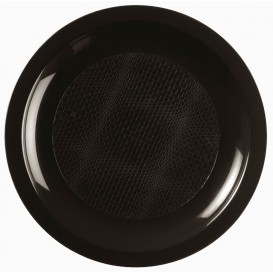 "Plastic Plate Flat Black ""Round"" PP Ø18,5 cm (600 Units)"