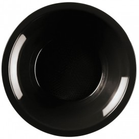"Plastic Plate Deep Black ""Round"" PP Ø19,5 cm (50 Units)"