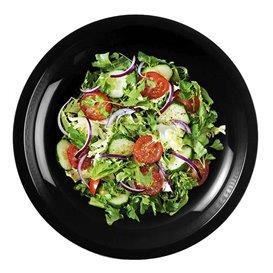 "Plastic Plate Flat Black ""Round"" PP Ø22 cm (50 Units)"