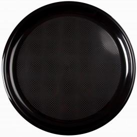 "Plastic Plate for Pizza Black ""Round"" PP Ø35 cm (12 Units)"