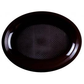 "Plastic Platter Microwavable Oval Shape Black ""Round"" 25,5x19 cm (50 Units)"