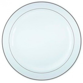 Plastic Plate Extra Rigid with Border Silver 23cm (20 Units)