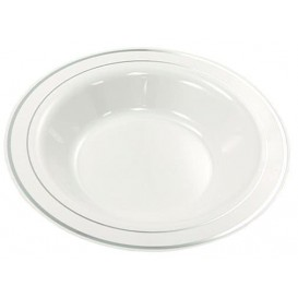 Plastic Plate Extra Rigid Deep with Border Silver 23cm (20 Units)