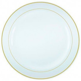 Plastic Plate Extra Rigid with Border Gold 23cm (200 Units)