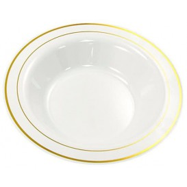 Plastic Plate Extra Rigid Deep with Border Gold 23cm (200 Units)