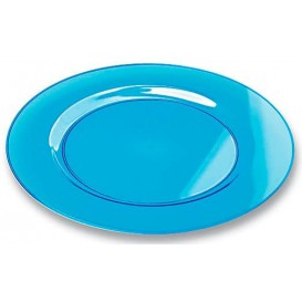 Plastic Plate Round shape Extra Rigid Turquoise 23cm (6 Units)