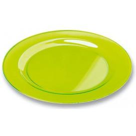 Plastic Plate Round shape Extra Rigid Green 19cm (10 Units)