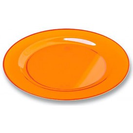 Plastic Plate Round shape Extra Rigid Orange 23cm (6 Units)