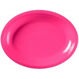 Plastic Platter Microwavable Oval Shape Fuchsia 25,5x19 cm (600 Units)