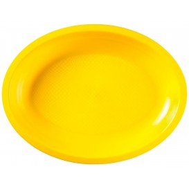 Plastic Platter Microwavable Oval Shape Yellow 31,5x22 cm (25 Units)