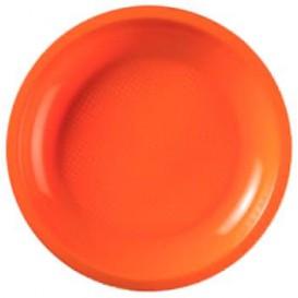 "Plastic Plate Flat Orange ""Round"" PP Ø22 cm (50 Units)"