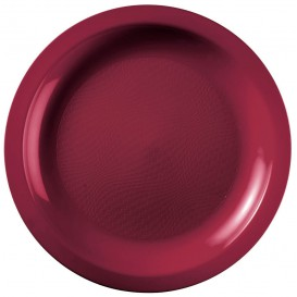 "Plastic Plate Burgundy ""Round"" PP Ø29 cm (25 Units)"