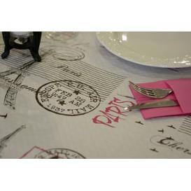 """Pre-Cut Paper Tablecloth """"Paris"""" 37g 1x1m (400 Units)"""