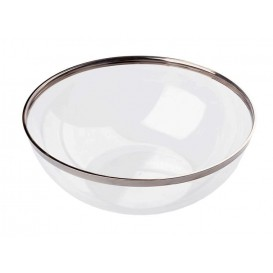 Plastic Bowl with Rim Hard Silver 1500ml Ø20cm (4 Units)