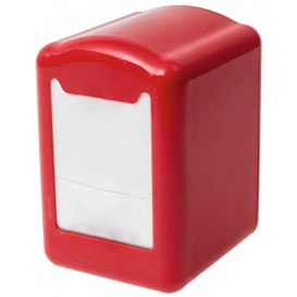 """Napkin Plastic Dispenser """"Miniservis"""" Red 17x17cm (12 Units)"""