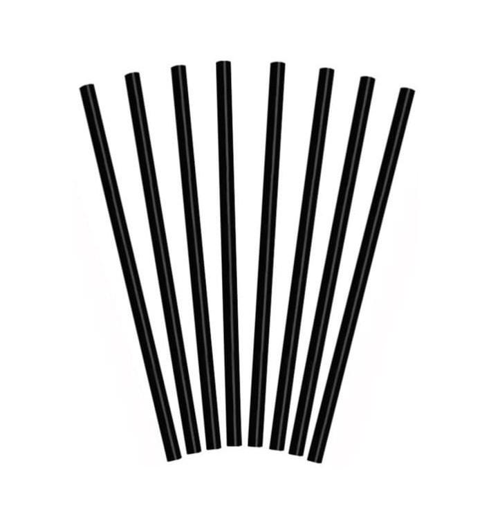 Plastic Straw for Frappé PS Straight Black Ø0,8cm 25cm (10000 Units)