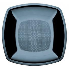 Plastic Plate Flat Black Square shape PS 18 cm (25 Units)