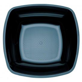 Plastic Plate Deep Black Square shape PS 18 cm (25 Units)