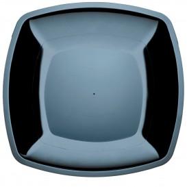 Plastic Plate Flat Black Square shape PS 30 cm (12 Units)