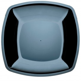 Plastic Plate Flat Black Square shape PS 30 cm (144 Units)