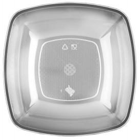 Plastic Plate Deep Clear Square shape PS 18 cm (25 Units)