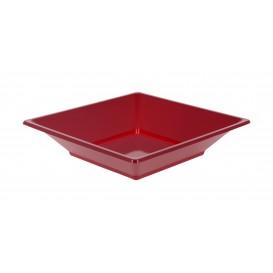 Plastic Plate Deep Square shape Burgundy 17 cm (360 Units)