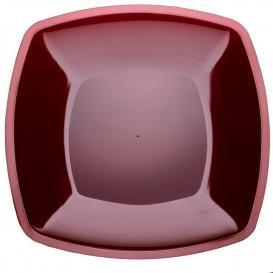 Plastic Plate Flat Burgundy Square shape PS 30 cm (12 Units)