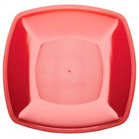 Plastic Plate Flat Red Square shape PS 18 cm (300 Units)