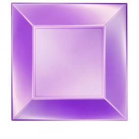 "Plastic Plate Flat Violet ""Nice"" Pearl PP 29 cm (12 Units)"
