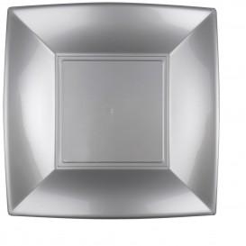 "Plastic Plate Flat Grey ""Nice"" PP 29 cm (12 Units)"
