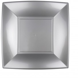 "Plastic Plate Flat Grey ""Nice"" PP 29 cm (144 Units)"