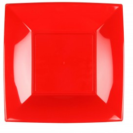 """Plastic Plate Flat Red """"Nice"""" PP 29 cm (12 Units)"""